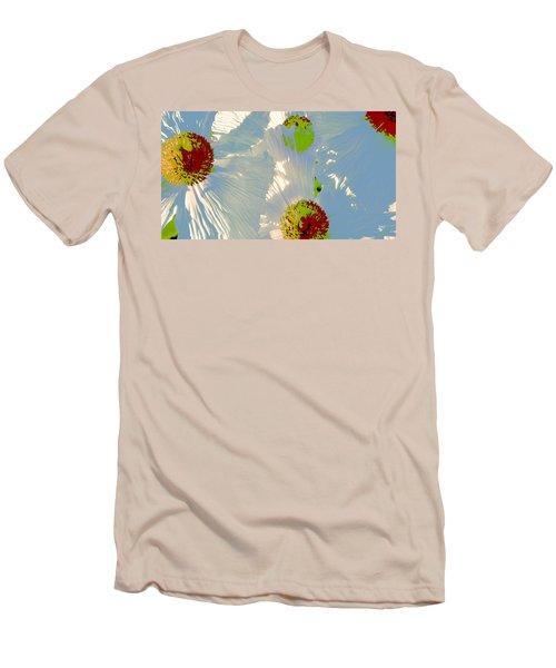 Men's T-Shirt (Slim Fit) featuring the photograph Matilija Poppies Pop Art by Ben and Raisa Gertsberg
