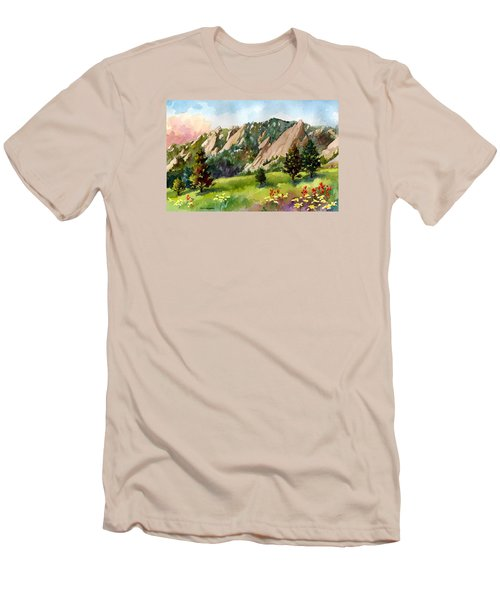 Men's T-Shirt (Slim Fit) featuring the painting Meadow At Chautauqua by Anne Gifford