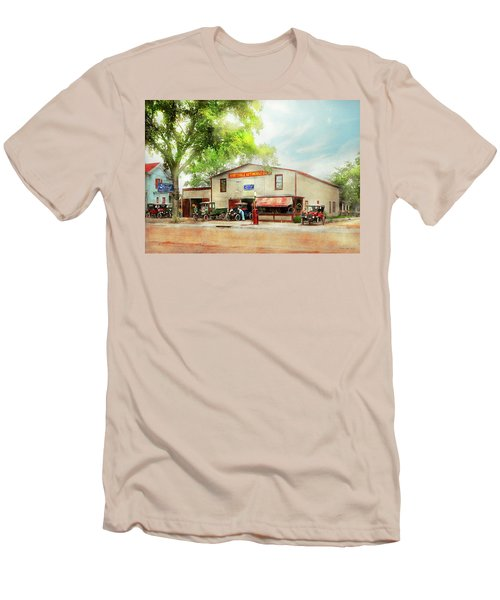 Men's T-Shirt (Slim Fit) featuring the photograph Mechanic - All Cars Finely Tuned 1920 by Mike Savad