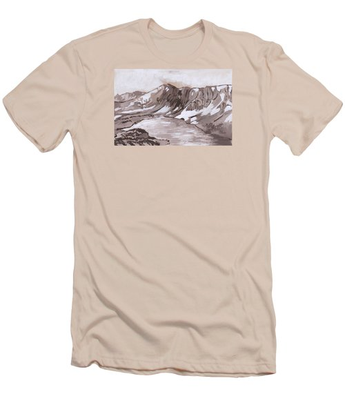 Men's T-Shirt (Slim Fit) featuring the painting Medicine Bow Peak Historical Vignette by Dawn Senior-Trask