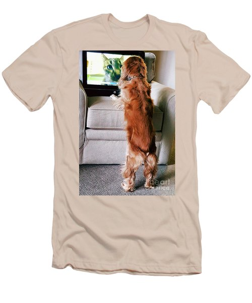Men's T-Shirt (Slim Fit) featuring the photograph Meow Woof by Polly Peacock