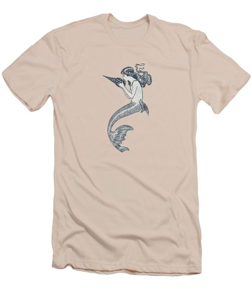 Mermaid - Nautical Design Men's T-Shirt (Slim Fit) by World Art Prints And Designs