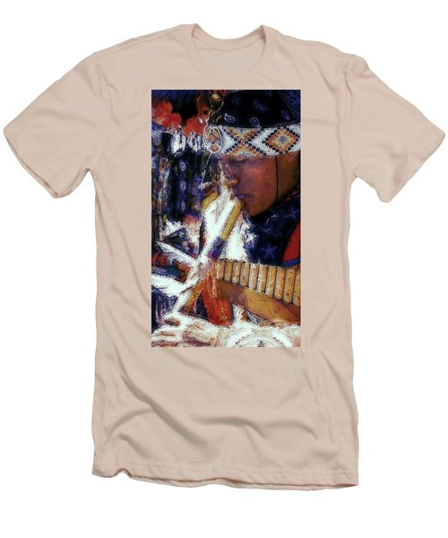 Men's T-Shirt (Slim Fit) featuring the photograph Mexican Street Musician by Lori Seaman