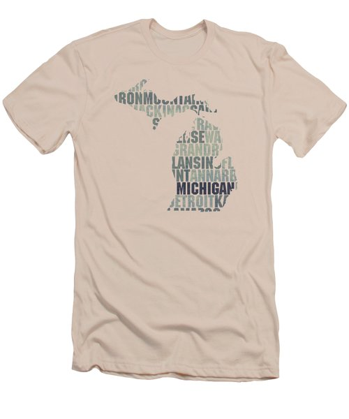 Michigan State Outline Word Map Men's T-Shirt (Slim Fit) by Design Turnpike