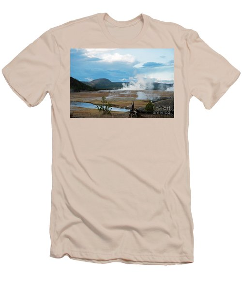 Midway Geyser Area Men's T-Shirt (Slim Fit) by Cindy Murphy - NightVisions