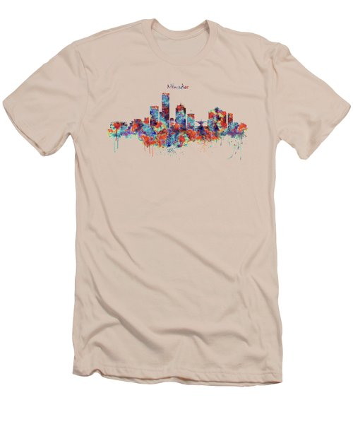 Men's T-Shirt (Slim Fit) featuring the mixed media Milwaukee Watercolor Skyline by Marian Voicu