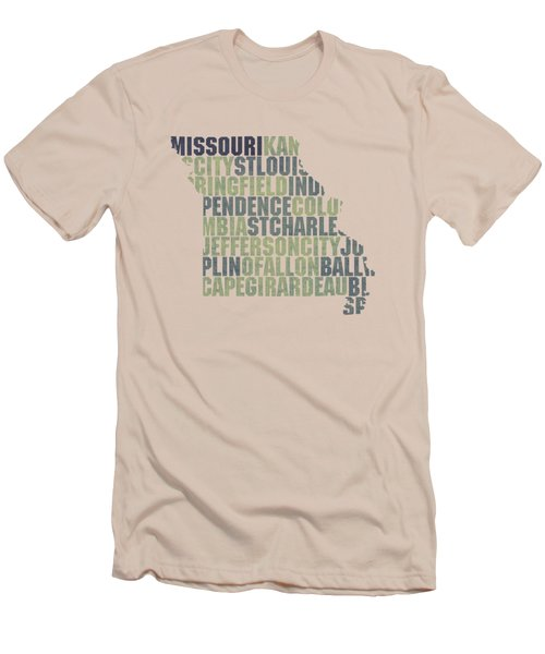 Missouri State Outline Word Map Men's T-Shirt (Athletic Fit)