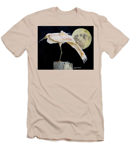 Moon Over Mississippi A Snowy Egrets Perspective Men's T-Shirt (Slim Fit) by Phyllis Beiser
