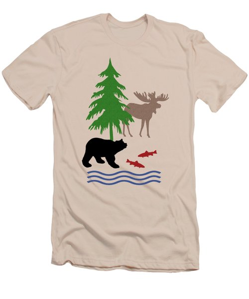 Moose And Bear Pattern Art Men's T-Shirt (Slim Fit)