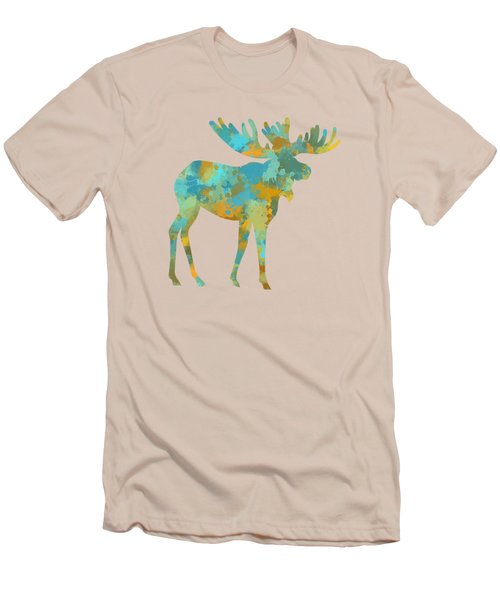 Moose Watercolor Art Men's T-Shirt (Slim Fit) by Christina Rollo