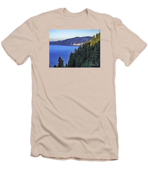 Morning Light At Crater Lake, Oregon Men's T-Shirt (Slim Fit) by Nancy Marie Ricketts