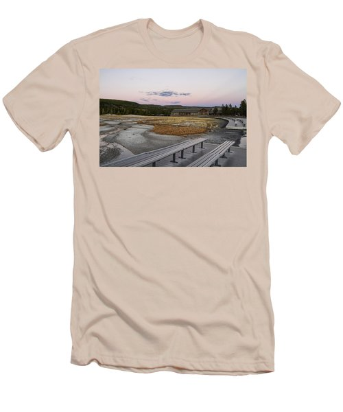Morning Light At Old Faithful Men's T-Shirt (Slim Fit) by Shirley Mitchell