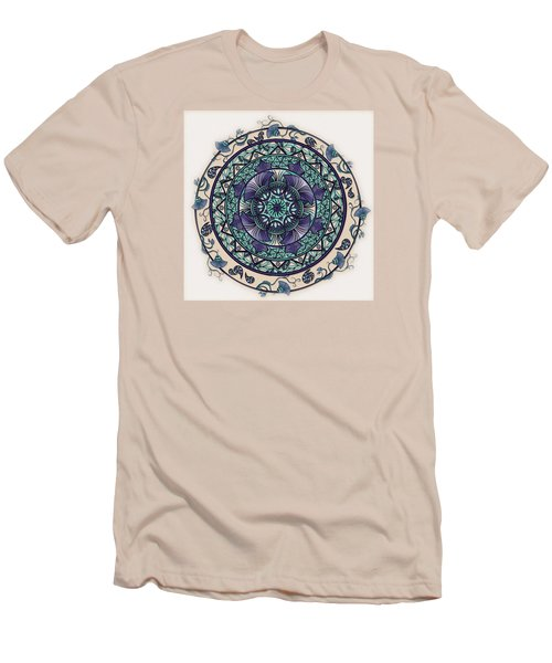 Men's T-Shirt (Slim Fit) featuring the drawing Morning Mist Mandala by Deborah Smith