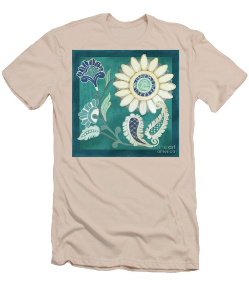 Men's T-Shirt (Athletic Fit) featuring the painting Moroccan Paisley Peacock Blue 2 by Audrey Jeanne Roberts