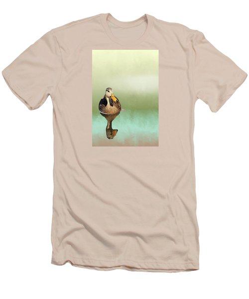 Mottled Duck Reflection Men's T-Shirt (Slim Fit) by Rosalie Scanlon