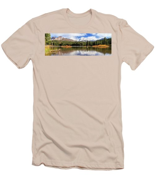 Mount Lassen Autumn Panorama Men's T-Shirt (Slim Fit) by James Eddy