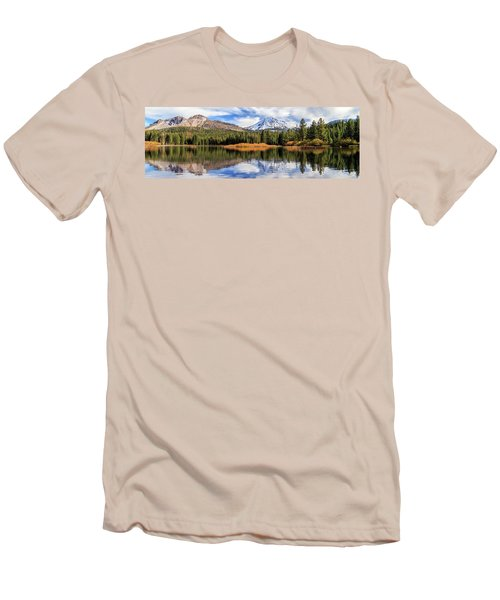 Mount Lassen Reflections Panorama Men's T-Shirt (Slim Fit) by James Eddy
