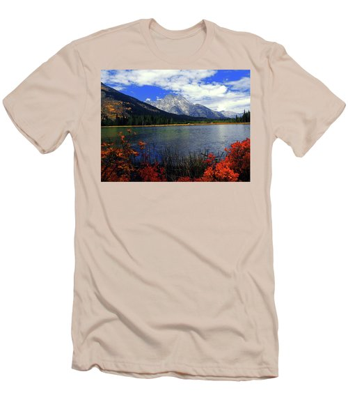 Men's T-Shirt (Slim Fit) featuring the photograph Mount Moran In The Fall by Raymond Salani III