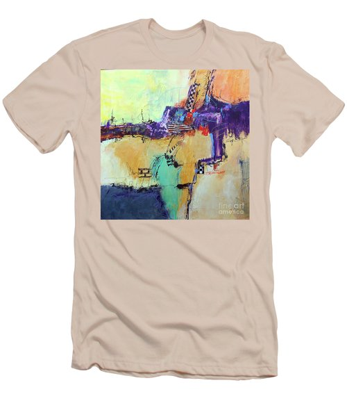 Men's T-Shirt (Slim Fit) featuring the painting Movin' Left by Ron Stephens