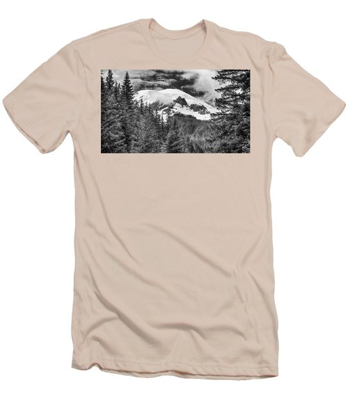 Men's T-Shirt (Slim Fit) featuring the photograph Mt Rainier View - Bw by Stephen Stookey
