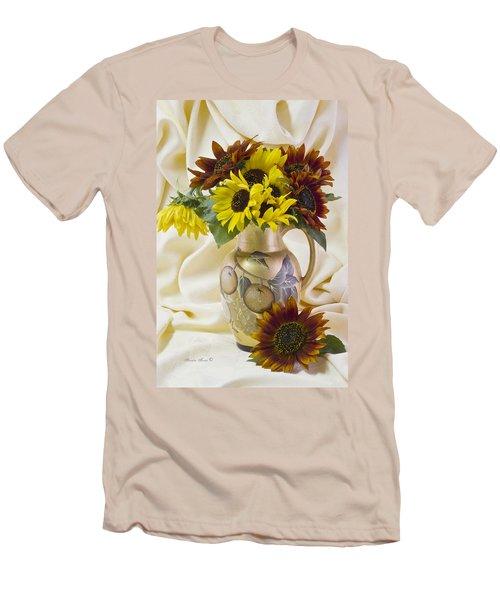 Multi Color Sunflowers Men's T-Shirt (Slim Fit) by Sandra Foster