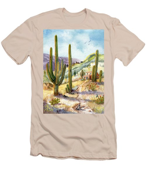 Men's T-Shirt (Slim Fit) featuring the painting My Adobe Hacienda by Marilyn Smith