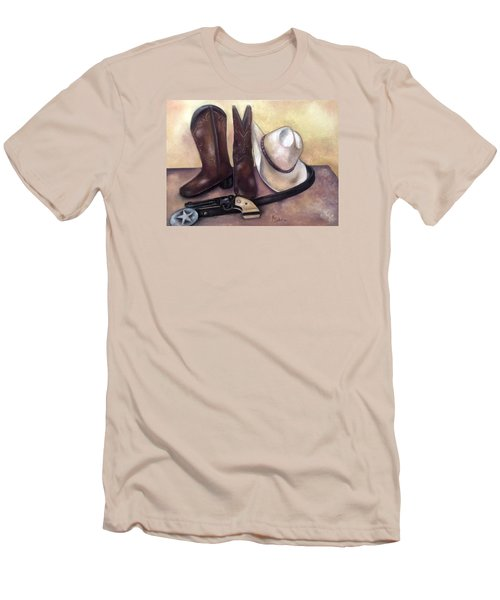 My Cowboy's Home Men's T-Shirt (Slim Fit) by Annamarie Sidella-Felts