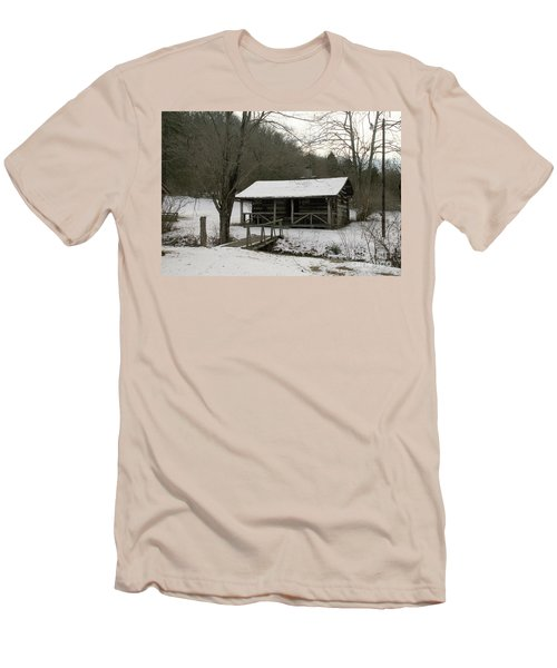 My Lil Cabin Home On The Hill In Winter Men's T-Shirt (Athletic Fit)