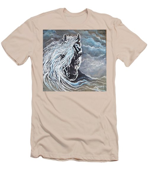 Men's T-Shirt (Slim Fit) featuring the painting My White Dream Horse by AmaS Art
