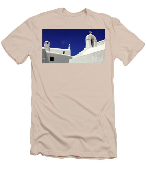 Men's T-Shirt (Slim Fit) featuring the photograph Mykonos Greece Architectual Line 5 by Bob Christopher