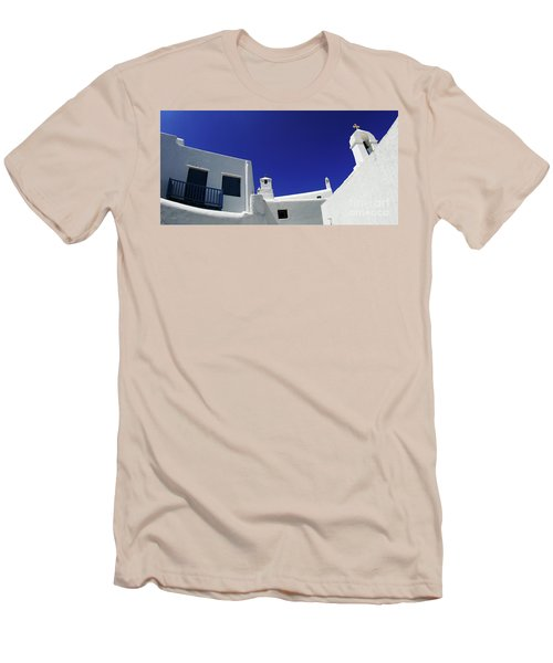Men's T-Shirt (Slim Fit) featuring the photograph Mykonos Greece Clean Line Architecture by Bob Christopher