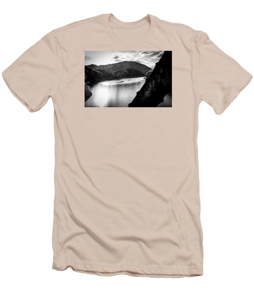 Men's T-Shirt (Slim Fit) featuring the photograph Nantahala River As Seen From The Great Smokey Mountain Railroad by Kelly Hazel