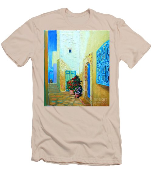 Men's T-Shirt (Slim Fit) featuring the painting Narrow Street In Hammamet by Ana Maria Edulescu