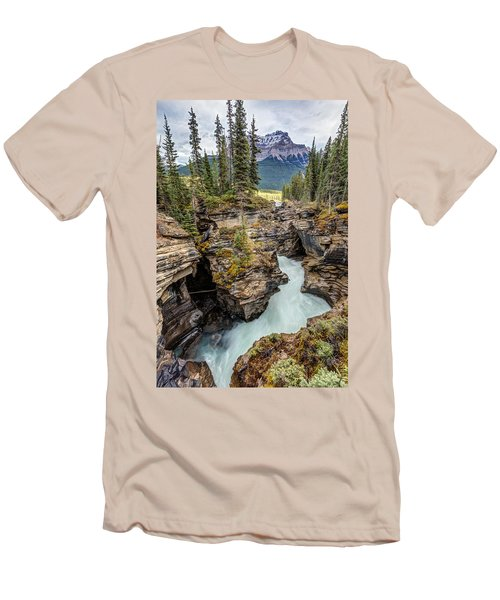 Natural Flow Of Athabasca Falls Men's T-Shirt (Slim Fit) by Pierre Leclerc Photography