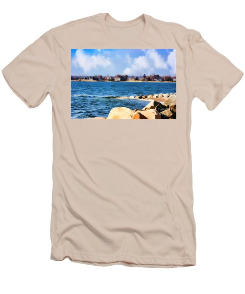 New England Shoreline - Painterly Men's T-Shirt (Slim Fit) by Judy Palkimas