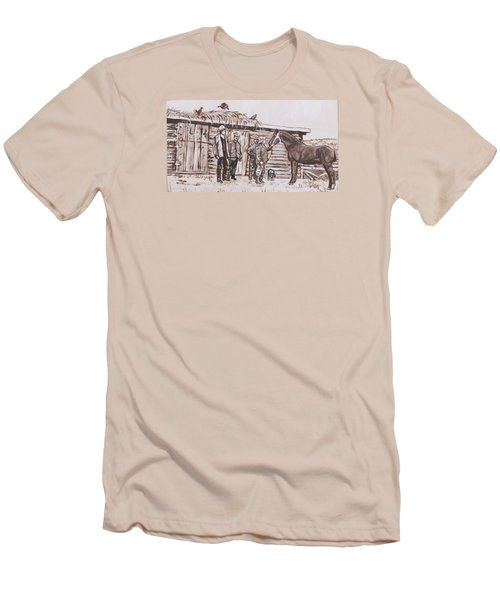 Men's T-Shirt (Slim Fit) featuring the painting New Stallion At The Homestead Historical Vignette by Dawn Senior-Trask