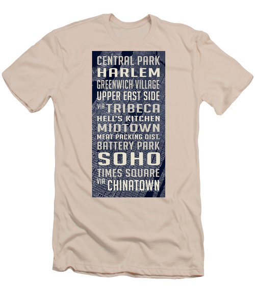 New York City Vintage Subway Stops With Map Men's T-Shirt (Athletic Fit)