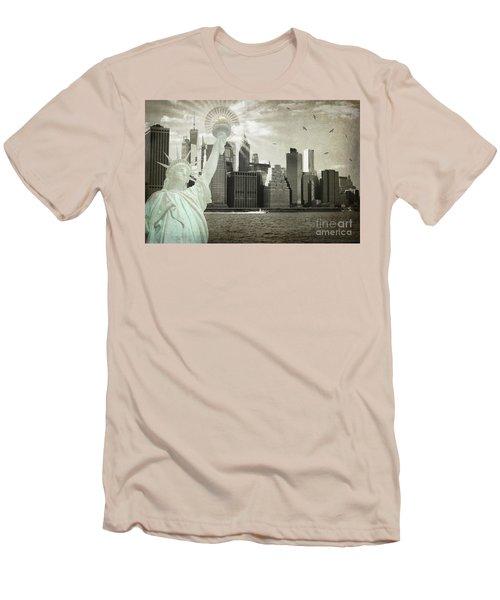 New York New York Da Men's T-Shirt (Slim Fit) by Judy Wolinsky