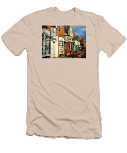 North Conway Village 2 Men's T-Shirt (Slim Fit) by Nancy De Flon