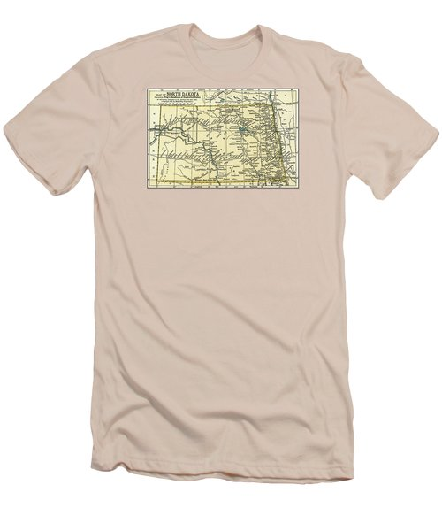 North Dakota Antique Map 1891 Men's T-Shirt (Slim Fit) by Phil Cardamone