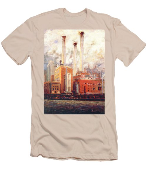 Men's T-Shirt (Slim Fit) featuring the painting Nyc- View From East River  by Walter Casaravilla