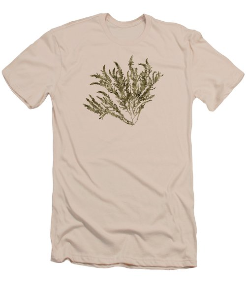 Men's T-Shirt (Slim Fit) featuring the mixed media Ocean Seaweed Plant Art Ptilota Sericea Square by Christina Rollo
