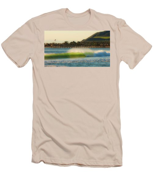 Men's T-Shirt (Slim Fit) featuring the photograph Offshore Wind Wave And Ventura, Ca Pier by John A Rodriguez