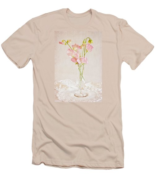 Old Fashioned Sweet Peas Men's T-Shirt (Slim Fit) by Sandra Foster
