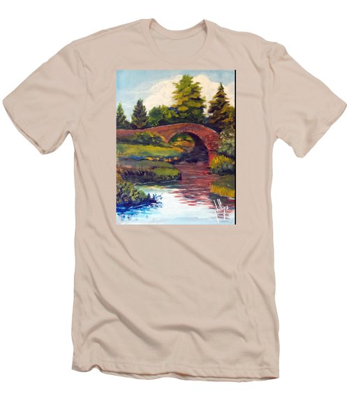 Men's T-Shirt (Slim Fit) featuring the painting Old Red Stone Bridge by Jim Phillips