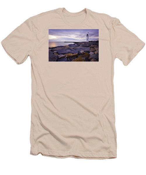 Old Scituate Light At Sunrise Men's T-Shirt (Slim Fit) by Betty Denise