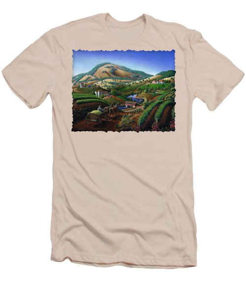 Old Wine Country Landscape - Delivering Grapes To Winery - Vintage Americana Men's T-Shirt (Slim Fit) by Walt Curlee