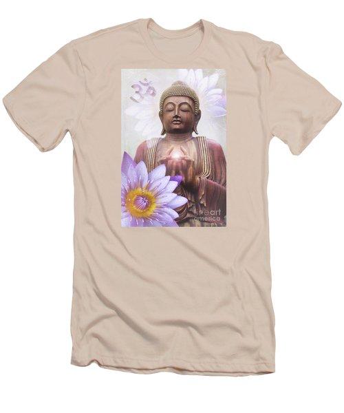Om Mani Padme Hum - Buddha Lotus Men's T-Shirt (Slim Fit) by Sharon Mau