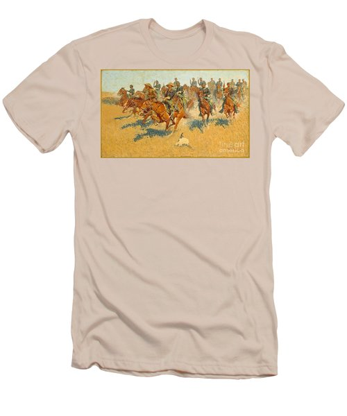 Men's T-Shirt (Slim Fit) featuring the photograph On The Southern Plains Frederic Remington by John Stephens