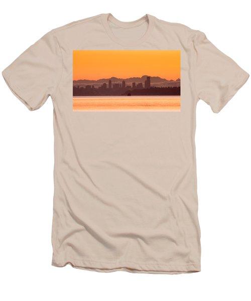Seattle Skyline In Orange Men's T-Shirt (Slim Fit) by E Faithe Lester